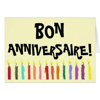 Cartão claro do aniversário - francês