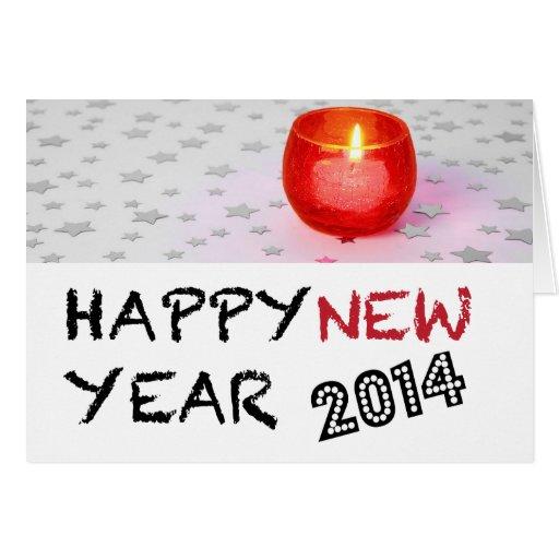 Cartão claro do feliz ano novo 2014 da vela do chá