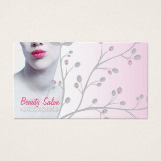 Cartão claro simples do salão de beleza da mulher