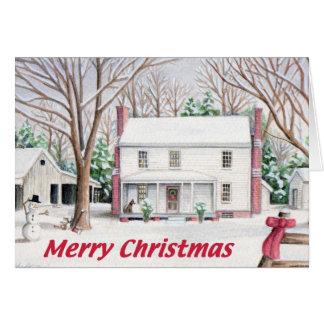 Cartão clássico da casa da fazenda do Natal