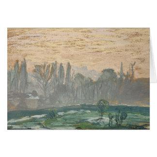 Cartão Claude Monet - paisagem do inverno com céu da