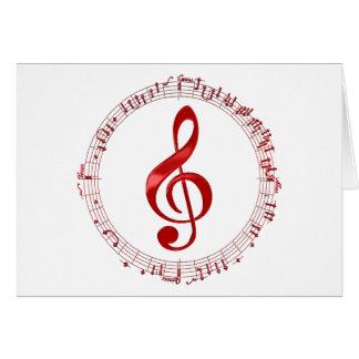 Cartão Clef de triplo vermelho em notas da música