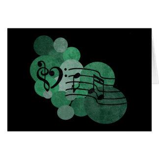 Cartão Clefs do coração, notas da música + bolinhas de