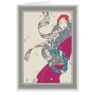 Cartão Cliente da grinalda do Xmas Deco no vento