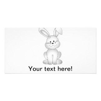 Cartão Clipart branco do coelho