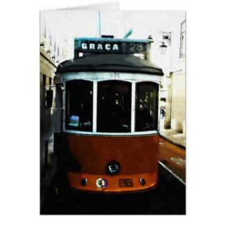 Cartão Close up do bonde de Lisboa