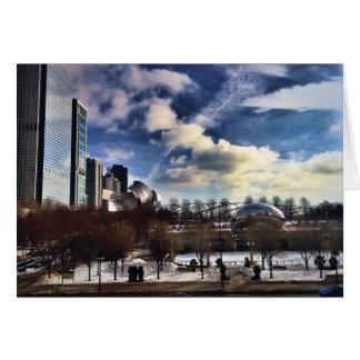 Cartão Cloudgate no parque Chicago do milênio