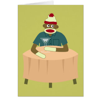 Cartão Clube nocturno de Martini do macaco da peúga