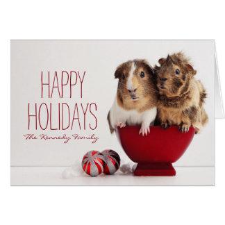 Cartão Cobaias com bola do Natal