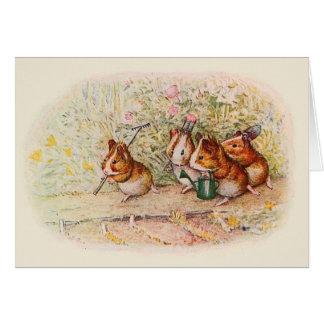 Cartão Cobaias que plantam no jardim