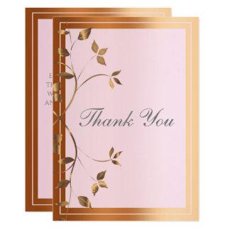 Cartão Cobre elegante e obrigado cor-de-rosa da videira