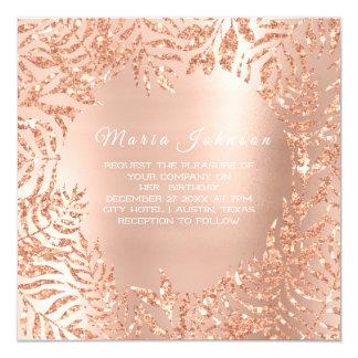 Cartão Cobre tropical do rosa do rosa de jardim da palma