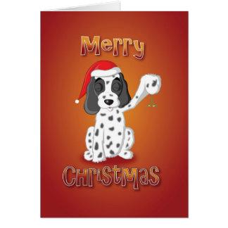Cartão cocker spaniel - visco - Feliz Natal
