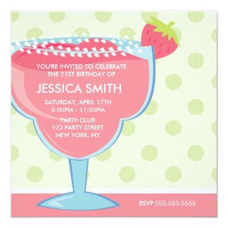 Cartão Cocktail cor-de-rosa de Margarita