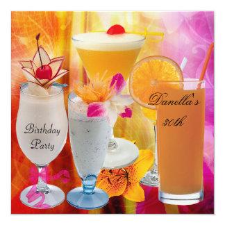 Cartão Cocktail tropicais 2 das bebidas do partido de