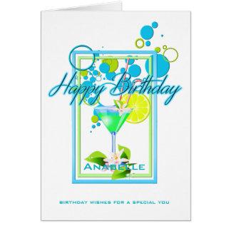 Cartão Cocktail vívido do aniversário das cores do quadro