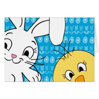 Cartão Coelhinho da Páscoa e pintinho