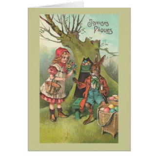 Cartão Coelhinho da Páscoa francês com vintage da