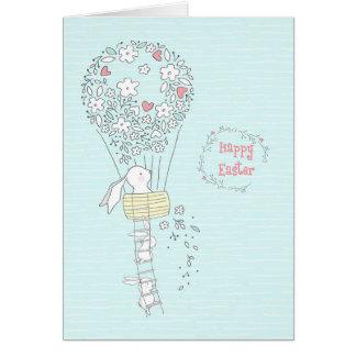 Cartão Coelhinho da Páscoa no balão de ar quente das