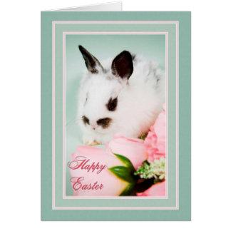 Cartão Coelhinho da Páscoa preto e branco
