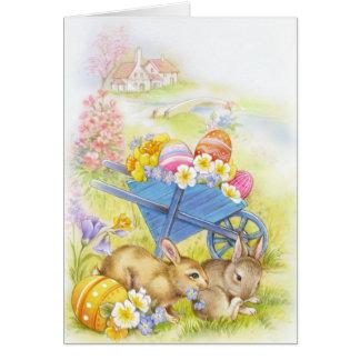 Cartão Coelhinhos da Páscoa nostálgicos bonitos do