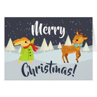 Cartão Coelho bonito e cervos do Natal
