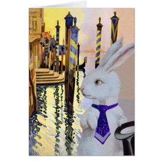 Cartão Coelho branco em Veneza, Italia - antropomórfica