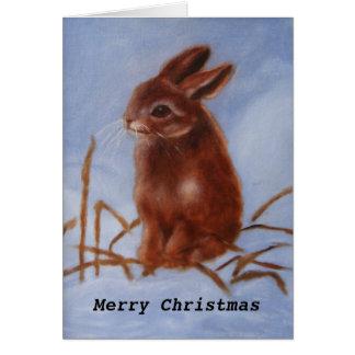 Cartão Coelho de Brown na neve