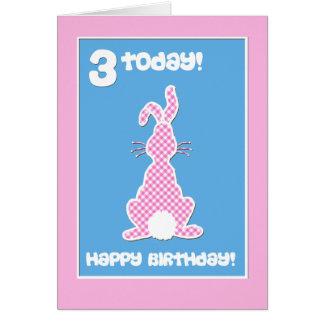Cartão Coelho de coelho bonito no aniversário de 3 anos