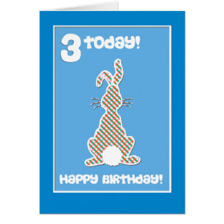 Cartão Coelho de coelho bonito no cumprimento azul do