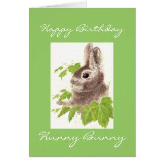 Cartão Coelho de Hunny do aniversário, coelho bonito