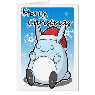 Cartão Coelho de Robo do Feliz Natal