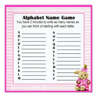 Cartão Coelho do rosa do jogo do nome & do Bingo do