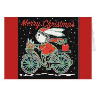 Cartão Coelho em uma bicicleta - Xmas de ciclagem do