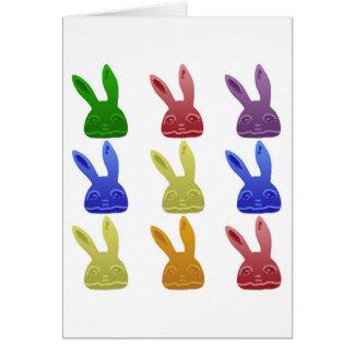 Cartão Coelhos coloridos