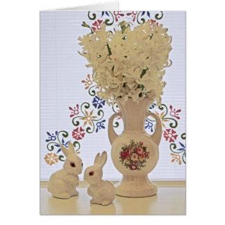 Cartão Coelhos e vaso pequenos
