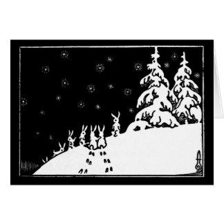 Cartão Coelhos preto e branco da arte do vintage na neve