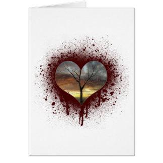 Cartão Cofre forte a árvore de coração de sangramento da