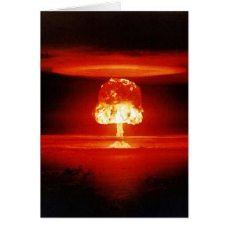 Cartão Cogumelo atómico bonito da laranja da destruição