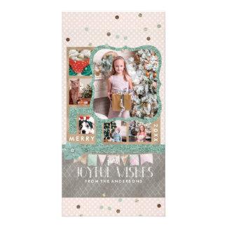 Cartão Colagem alegre da foto do costume do Natal 6 dos