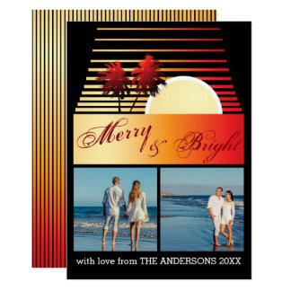 Cartão Colagem alegre e brilhante da foto do por do sol