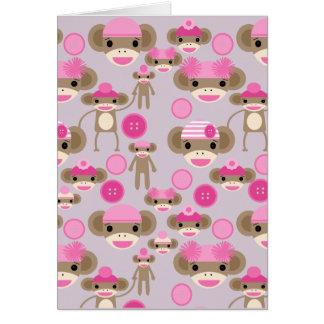 Cartão Colagem cor-de-rosa feminino bonito do teste