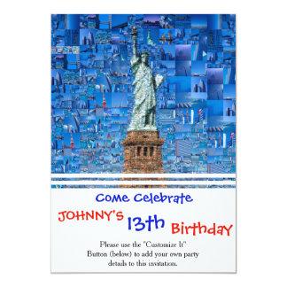 Cartão colagem da estátua da liberdade - arte da estátua