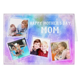 Cartão Colagem da família da foto do dia das mães 4 na