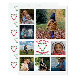 Cartão Colagem da foto do coração 8 da hortelã do Natal