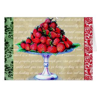 Cartão Colagem das morangos do vintage