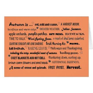 Cartão colagem do cumprimento do outono