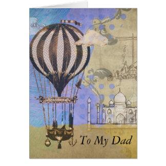 Cartão Colagem do dia dos pais do balão de ar quente do