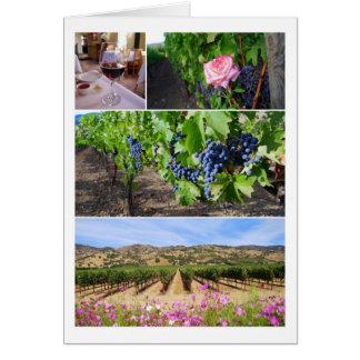 Cartão Colagem do vinhedo de Califórnia