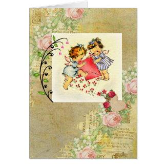 Cartão Colagem dos anjos e dos corações dos namorados do
